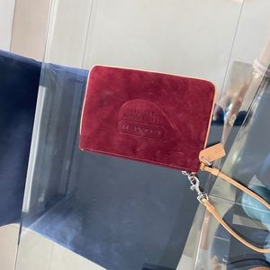 Maroon velvet COACH purse